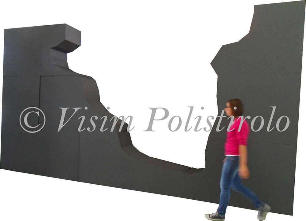 murogrigio  polistirolo sagoma allestimento parete interni