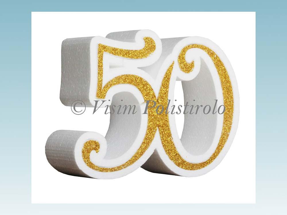 numero 50 polistirolo festa